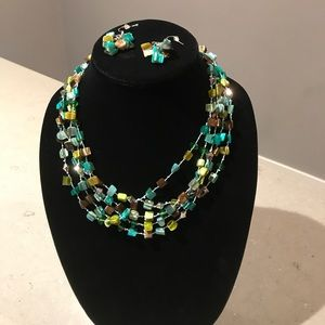 Jewelry - Sea Green Glass Bead Layered Necklace 3 p. Set